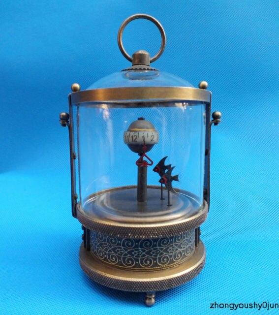 Cuivre Laiton artisanat Rare de Poisson en laiton Horloge de Table Mécanique Décorations