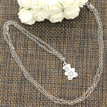 New Fashion Double Sided Flower Bear Pendants Round Cross Chain Short Long Mens Womens DIY Silver Color Necklace Jewelry Gift 3