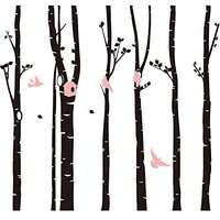 246 * 230cm Forest Birds Art Decor Wall Decal Six Large Black Trees Wall Stickers for Kids Room Living Room TV Background KW-95