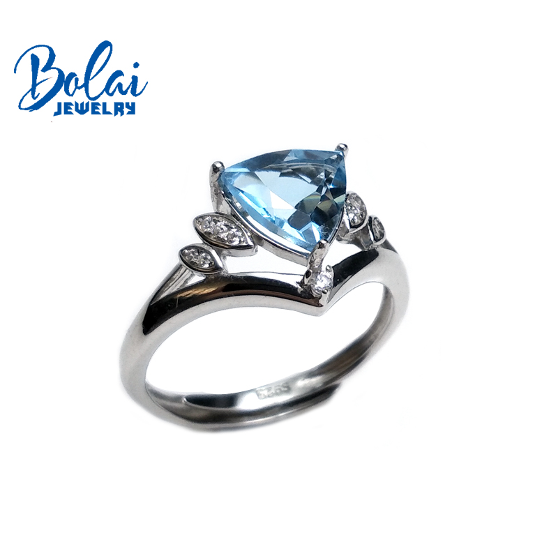 Bolaijewelry,classical simple style tanzanite color topaz,sky topaz and garnet gemstone ring 925 silver fine jewelry for women punk style pure color hollow out ring for women