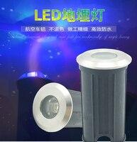 (10 pçs/lote) 3 w redondo conduziu a luz da lâmpada subterrânea jardim caminho lâmpadas de assoalho enterrado iluminação dc12v ou AC85-265V ip67 atacado