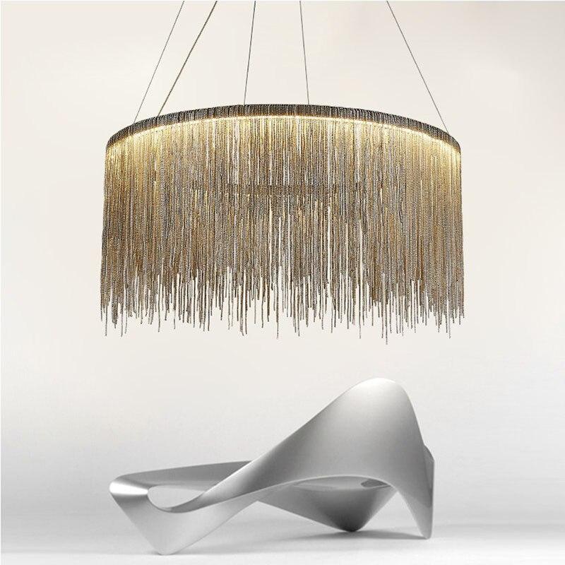 где купить Long Tassel Aluminum chain Light Stream Pendant Light Luxury Silver Suspension Lamp For Living Room Bedroom Bar Restaurant Hotel дешево