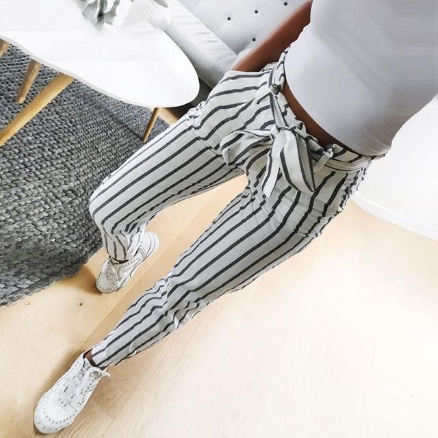 2018 fashion autumn women casual mid waist pants white striped bow tie drawstring sweet elastic waist pockets casual trousers Fashion & Designs