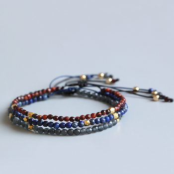 Eastisan 3mm Natural Lapis lazuli Stone Red Tiger Eye Bracelets For Men Women Reiki Prayer Stones Super Thin Jewelry Handmade buddhist rope bracelet