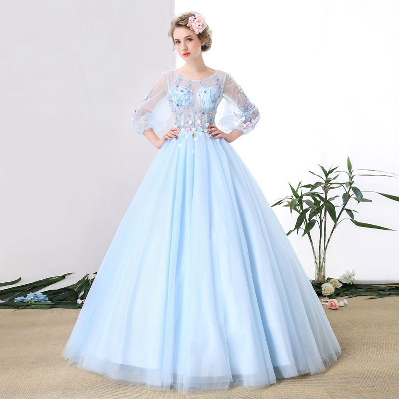 100%real luxury light pale blue flower vine embroidery beading carnival ball gown medieval Renaissance Gown Victorian Belle ball