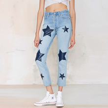 Woman Direct Selling Women High Waist Jeans 2016 Fashion Slim Straight Regular Ostalgic Nine Points Denim Printing Ss0766