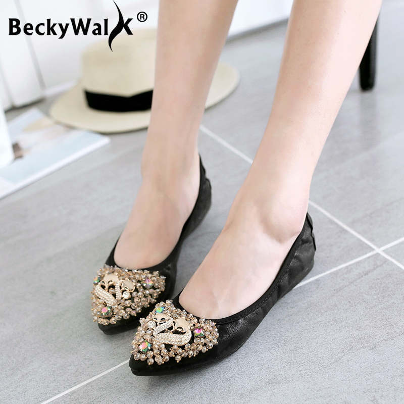 2019 Spring Women Shoes Fashion Rhinestone Foldable Ballet Flats for Ladies Slip On Casual Travel Shoes Woman Plus Size 34-43