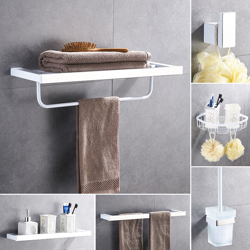 White bathroom hardware set square stainless steel towel - Bathroom accessories paper towel holder ...