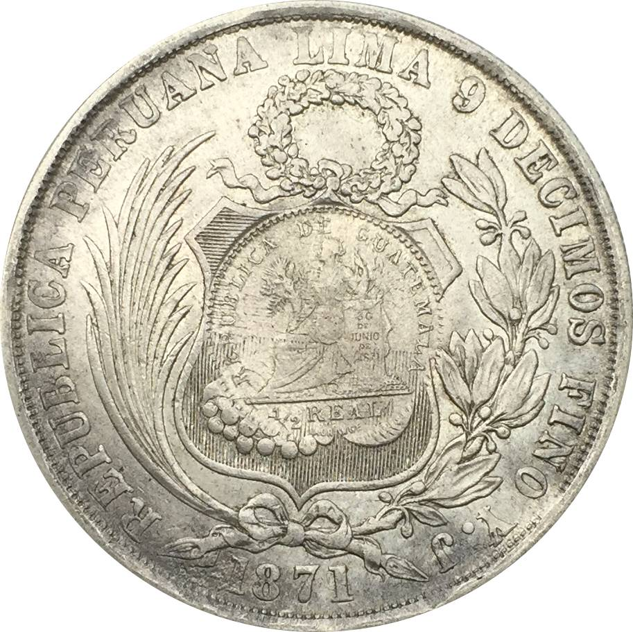 1871 Guatemala 1 Peso Counter Stamped Coinage 90 Silver Copy Coin