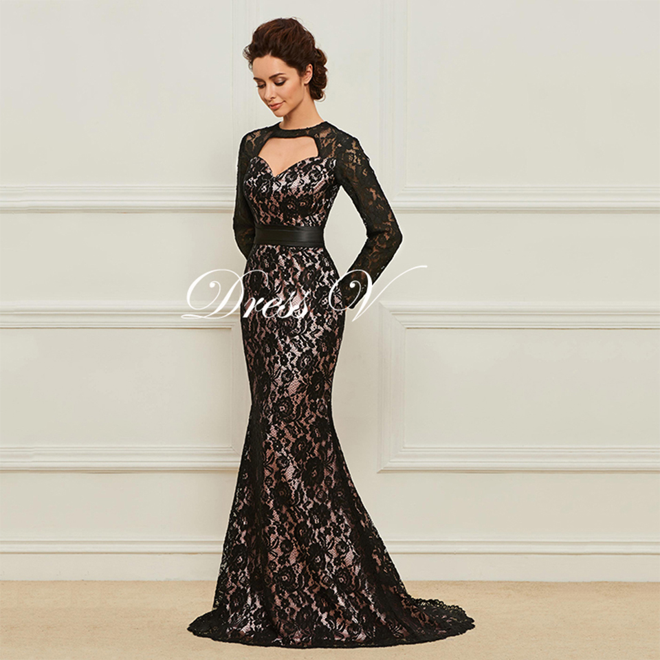 48abe7cc3e93 Dressv Long Multi Color Mother Of The Bride Dress Scoop Neck Long Sleeves  Mermaid Lace Button Sashes Sweep Train Mother Dress ...