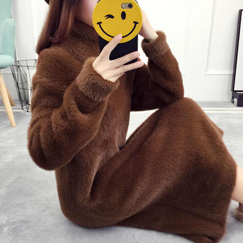 Turtleneck Knitted Women Thick Loose Long New Imitation Velvet Long Sleeve Pullover Femme Warm Solid Color Base Dress MZ3006