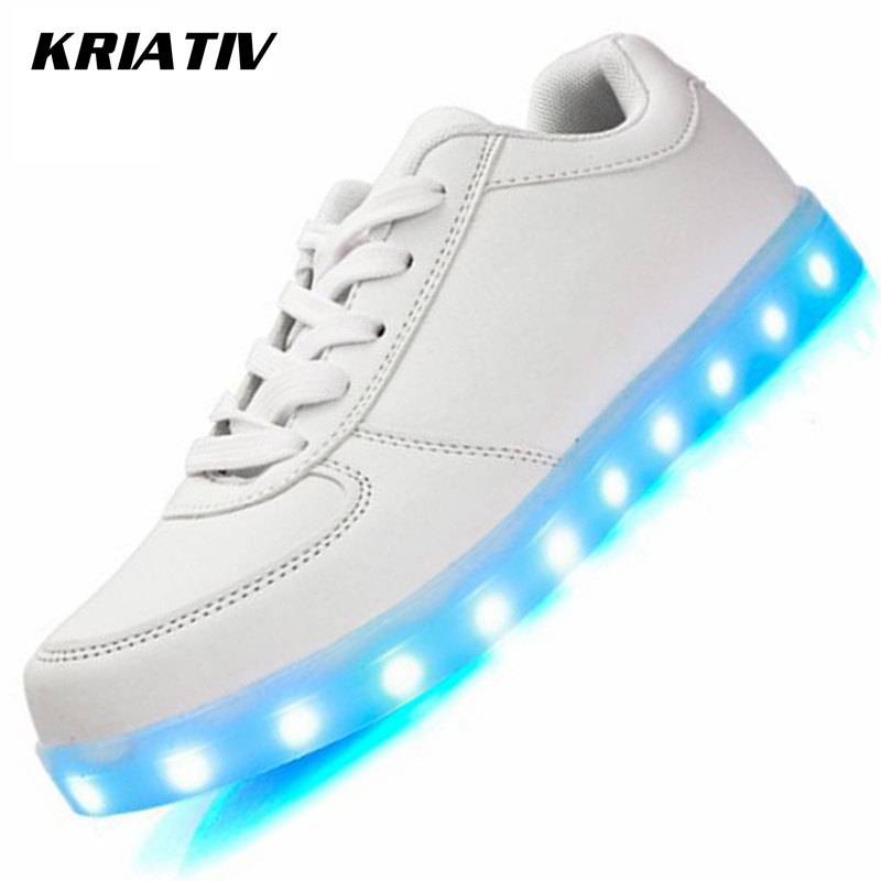 KRIATIV Luminous Sneakers dla dziewcząt i chłopców Chaussure Light Up Infant USB Luminous led shoes z lekkimi świecącymi trampkami