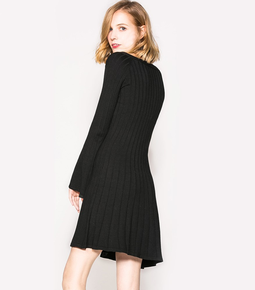 Autumn and winter lady dress solid color knit small hanging neck elegant body training in Dresses from Women 39 s Clothing