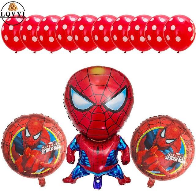 13 pçs/lote Balão Balões Folha Spiderman Batman Super Hero Azul Bolinhas Balões De Látex da Festa de Aniversário Decoração Crianças Brinquedos