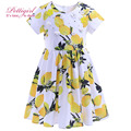 Girls Dress 2016 New Lemon Patterned Girl A-line Dresses Yellow Summer Costume For Baby Kids Printed Clothes GD90425-761F