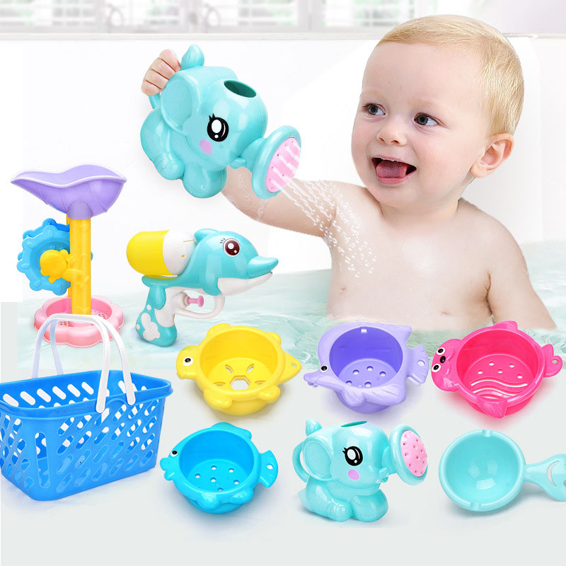 Baby Shower Toys Summer Seaside Water Sand Game Tools Bath Play Game Set Elephant Dolphin Toy For Children Kids