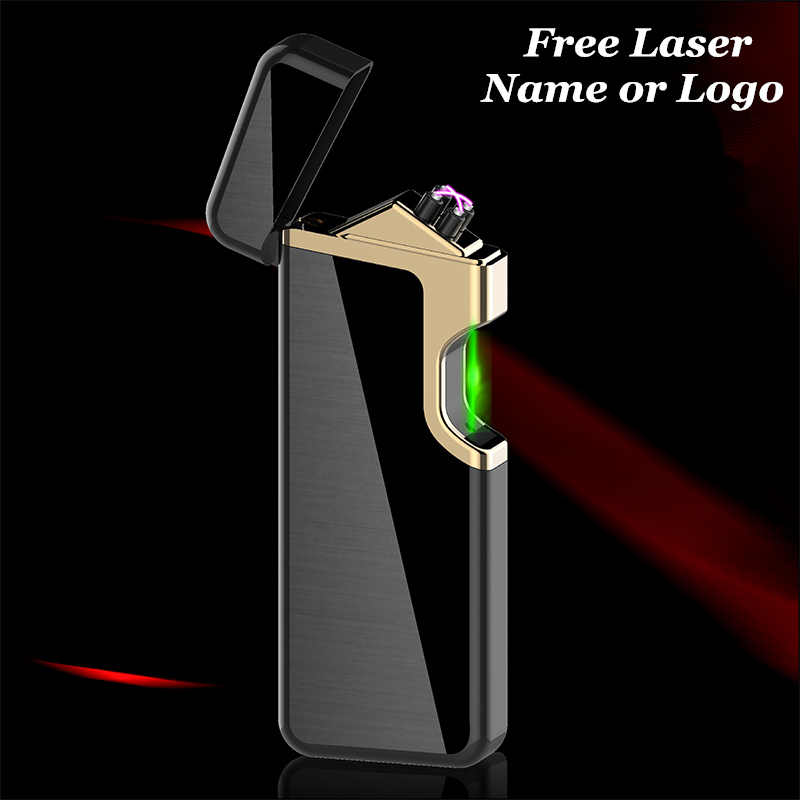 USB Electric Lighter Dual Arc Cigar Plasma Lighter Rechargeable Windproof Cigarette Pipe Lighter Free Laser Logo in Cigarette Accessories from Home Garden