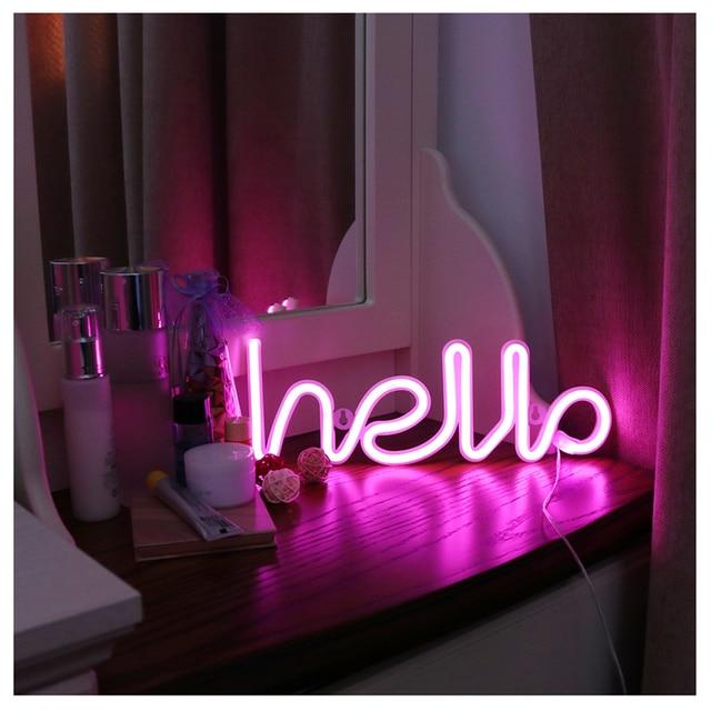 Night Light Neon Alphabet Hello Neon Lights 2