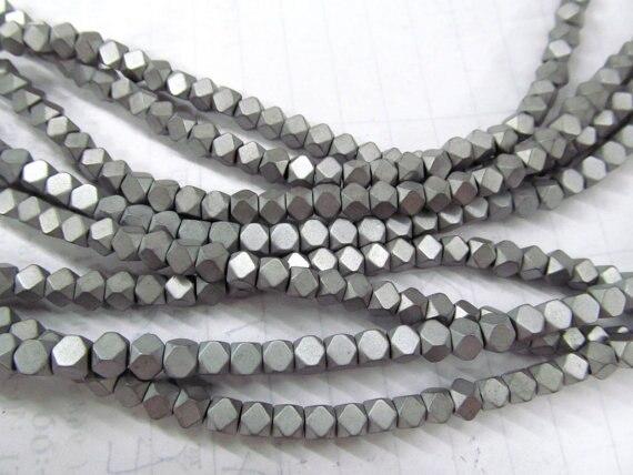 3x2mm Grey Hematite Gemstone Heishi Hexagonal Slice 3x2mm Loose Beads 16 inch Full Strand 90185564-837