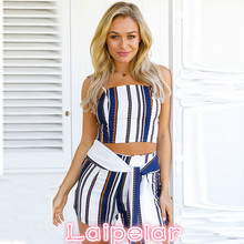 Women Sets Casual Spaghetti Straps Sleeveless Top Shorts Stripe Sexy Summer Evening Party Clothes Laipelar