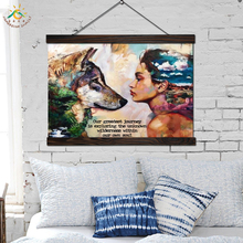 Wolf and Girl Wall Art Canvas Prints Painting Frame Scroll Painting Hanging Poster Decorative Picture art print wall poster недорго, оригинальная цена
