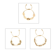Women Alloy Bracelet Adjustable Sea Shell Bracelets Beads Woven Bangles Accessories Wrist Jewelries Fashion