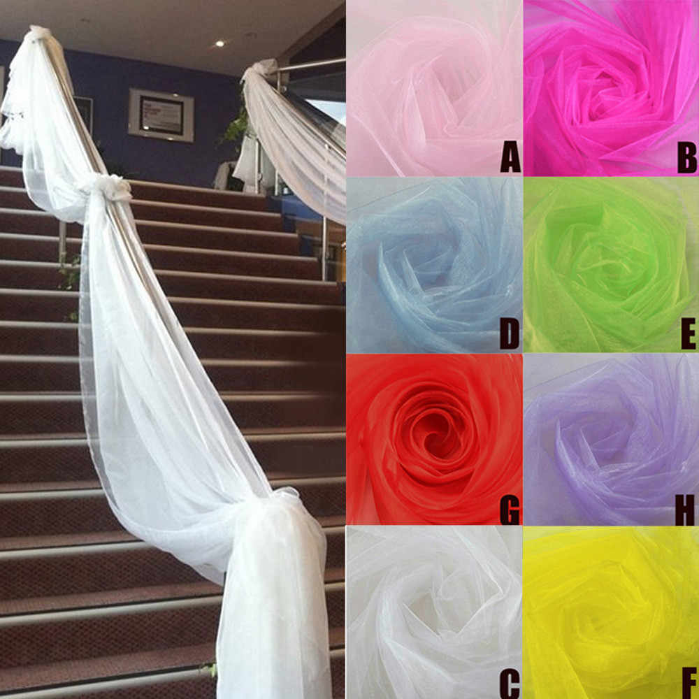 Shiny Crystal Tulle Organza Sheer Gauze 500CMX48CM DIY Organza Fabric For Wedding Party Decor Baby Shower Backdrop Decoration L4