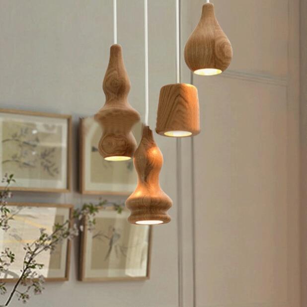 nordic loft vintage wood pendant lights red white cord pendant lamps e27 socket wood lampholder suspension