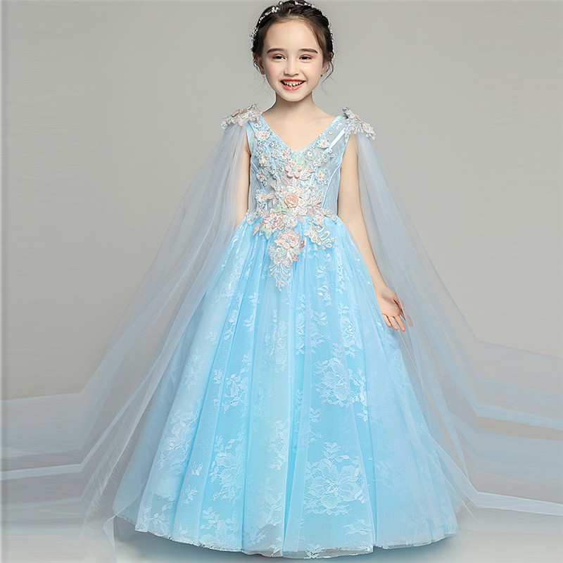 2018 New Popular Children Girls Birthday Party Flowers Princess Dress Kids Toddler Model Show Holiday Party Pageant Prom Dress music note party swing dress