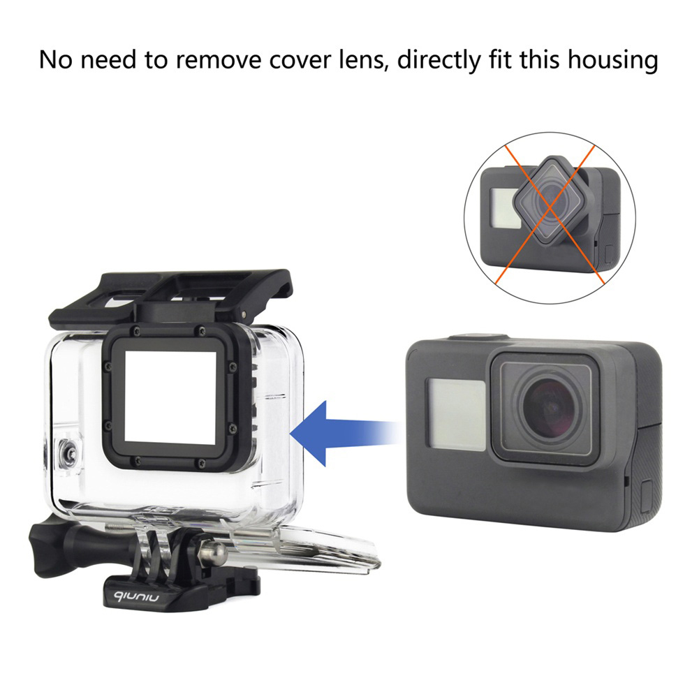 Qiuniu 45m Underwater Waterproof Protective Housing Case Diving Gopro Hero5 Free Acc Shorty Shell For Hero 5 6 7 Black 2018 Go Pro Accessories