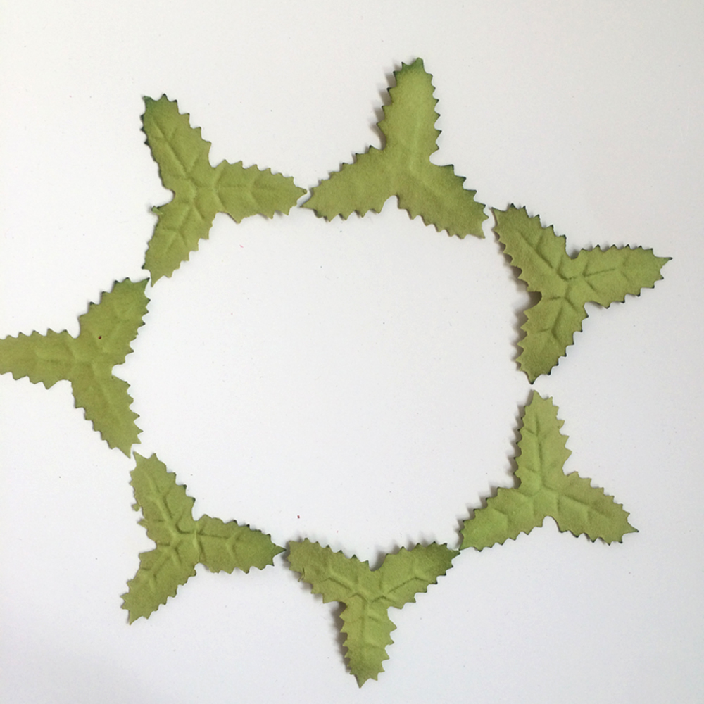 (100 pieces/lot) green Christmas Paper Flowers leaf for Holiday scrapbooking/cardmaking emebllishments