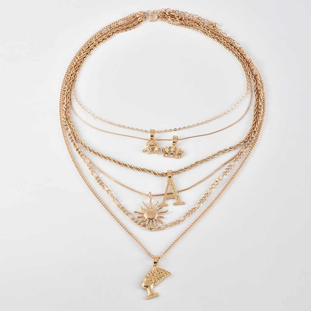 Retro Nữ Cổ Voi Thái Thư MỘT Mặt Trời Chân Dung Mặt Dây Chuyền Đa Lớp Vàng Bộ Vòng Charm Nữ DỰ TIỆC CƯỚI Trang Sức