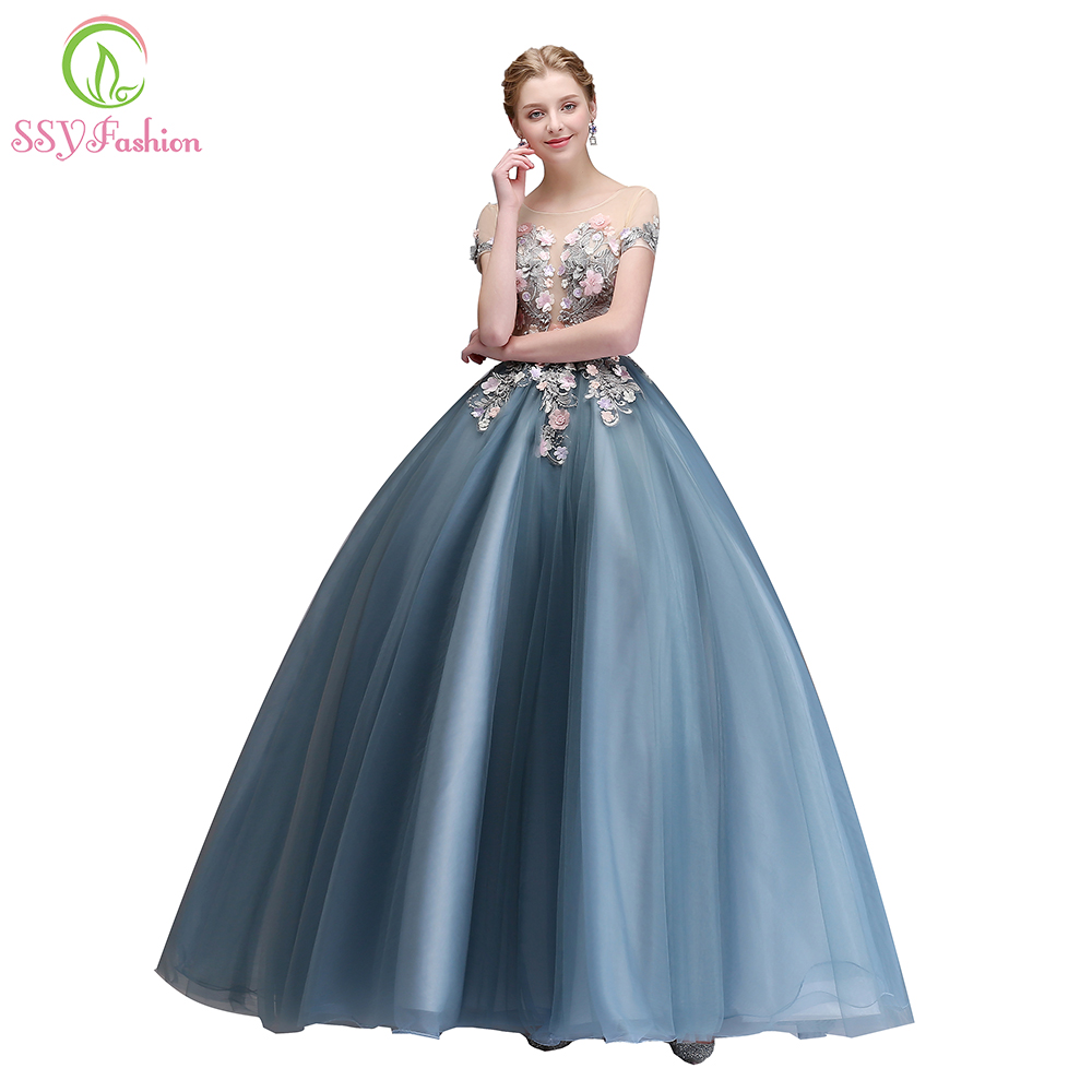 SSYFashion New Luxury   Prom     Dress   The Banquet Elegant Grey Blue Lace Flower Floor-length Party Ball Gown Custom Formal   Dresses