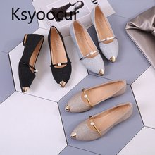 Brand Ksyoocur 2019 Spring New Ladies Flat Shoes Casual Women Shoes Comfortable Pointed Toe Flat Shoes 18-012 cheap Sequined Cloth Basic Solid Slip-On Rubber Spring Autumn Fits true to size take your normal size Shallow Adult Flats