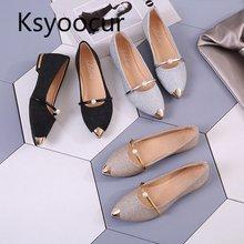 브랜드 ksyoocur 2020 봄 신사 숙녀 플랫 신발 캐주얼 여성 신발 편안한 지적 발가락 플랫 신발 18 012