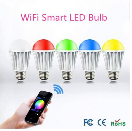 ФОТО Newest AC85-265V 16million colors RGBW 7W E27 Smart WiFi LED Bulb remote controlled by Android IOS