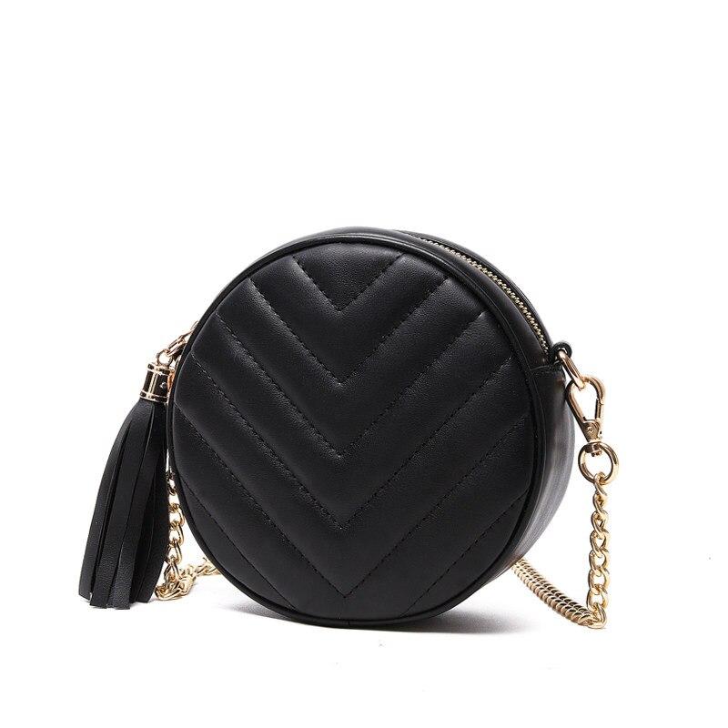 Small Circular Bag Women 2016 New Casual Chain Single Shoulder Tassel Plaid PU Shoulder Bag LadyJapan