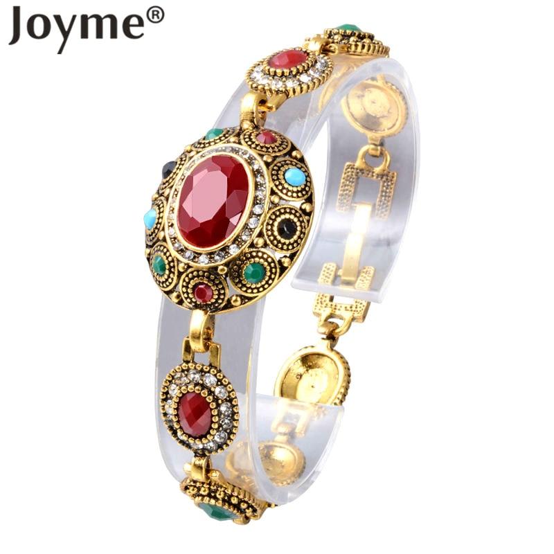 Turkish Jewelry Ethnic Bohemian Bracelets For Women Red Gem Stone Black Resin Tribal Gold-