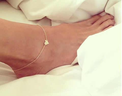 2020 ビーチ裸足サンダルアンクレットチェーンガールシルバーゴールドハート足ブレスレットファッションジュエリー女性のための裸足卸売