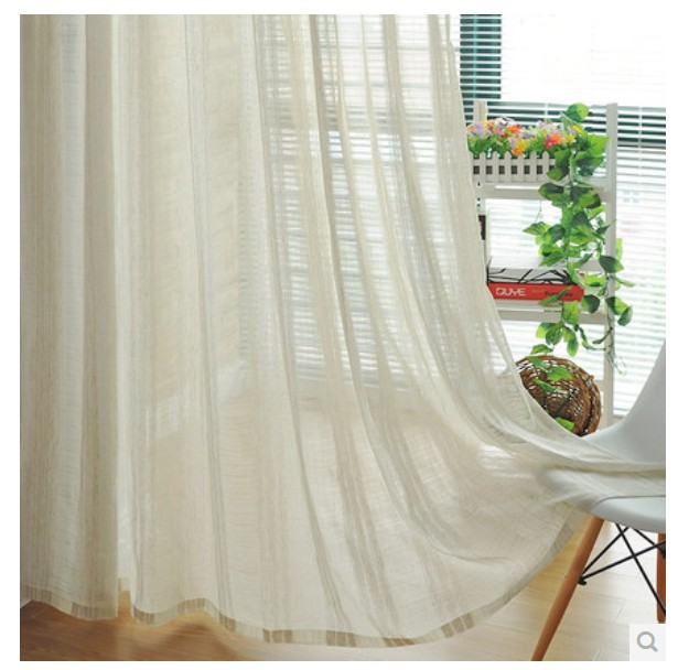 White Cotton Bedroom Curtains: (2.7m High) Free Shipping Romantic Tulle Cotton Linen