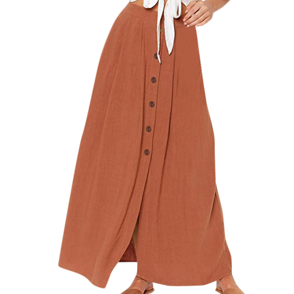 Autumn Skirts 2020 Women Fashion Summer Casual Solid Button Fork Opening Hollowing Out Split Daily Long Skirt Jupe Femme 41