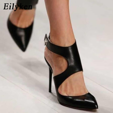 Eilyken 2018 New Design Autumn High Heels Pumps Sandals 12.5CM Fashion Pointed Toe Buckle Strap Gladiator Thin Heel Woman Shoes