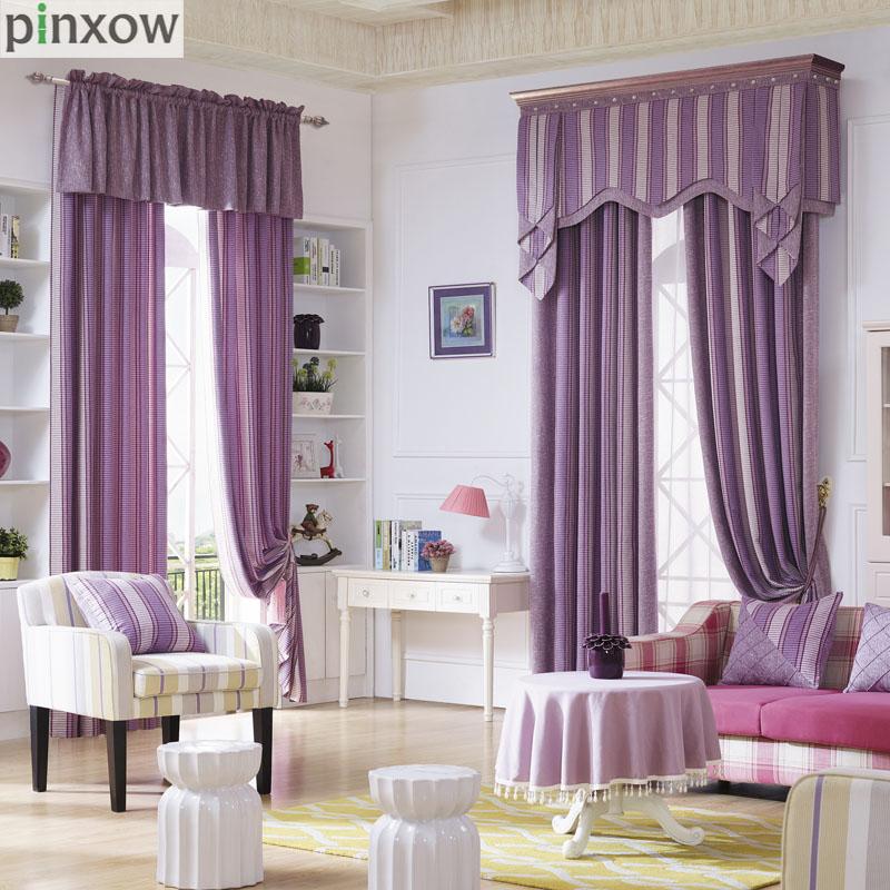 purple valances for bedroom purple stripe curtains for living room luxury thick 16893