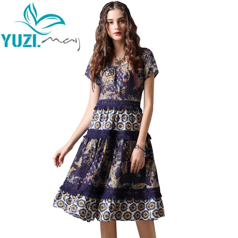 Summer Dress 2018 Yuzi may Boho New Vestido Feminino O Neck Short Sleeve A line Hollow