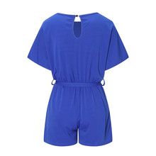 Casual Women Playsuits Solid Short Sleeve Office Work Jumpsuits Short Fashion 2019 Summer Overalls Sashes Bandage Rompers GV170