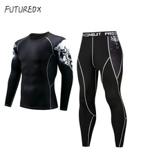 Wolf head compression shirt tactics MMA rashgard union clothing men's long sleeve + men's tight pants quick dry workout clothes