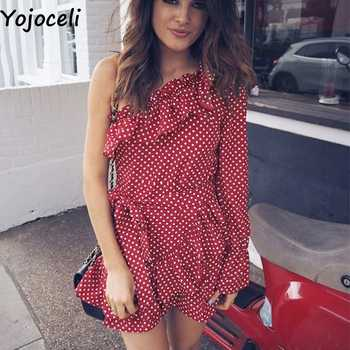 Yojoceli Elegant ruffle bow short dress women Spring one shoulder polka dot dress female Beach cute sexy dress vestidos - DISCOUNT ITEM  45% OFF All Category