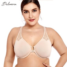 Delimira Womens New Full coverage Non Padded Seamless Underwire Racerback Front Close Bra