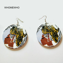 Wood Black Girl Africa Map Women Head Round Tribal Tropical Earring Vintage Wooden African Hiphop Jewelry