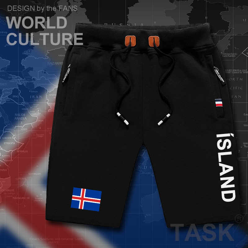 Iceland mens shorts beach man men's board shorts flag workout zipper pocket sweat bodybuilding 2017 new ISL Icelander Icelandi